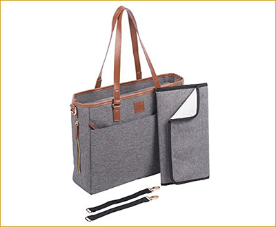 Diaper Bag Large Weekender Tote - With Changing Pad and Stroller Straps - for Moms or Dads by Mini n Mod