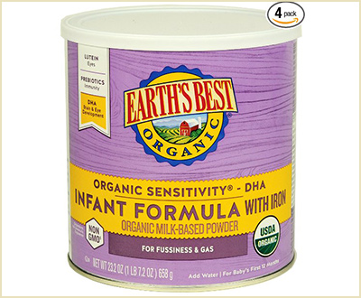 Earth's Best Organic Sensitivity Infant Formula with Iron (Pack of 4)
