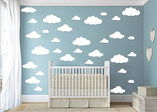 CUGBO 31pcs Big Clouds Vinyl Wall Decals DIY Wall Sticker Removable Wall Art Decor