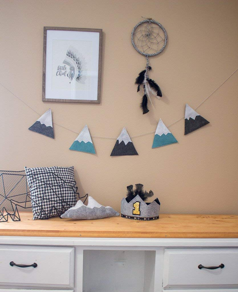 ELLA & MAX Kids Nursery Decor Mountain Garland Banner Dark Grey and Dusty Blue Felt Bunting, Woodland Theme Nursery