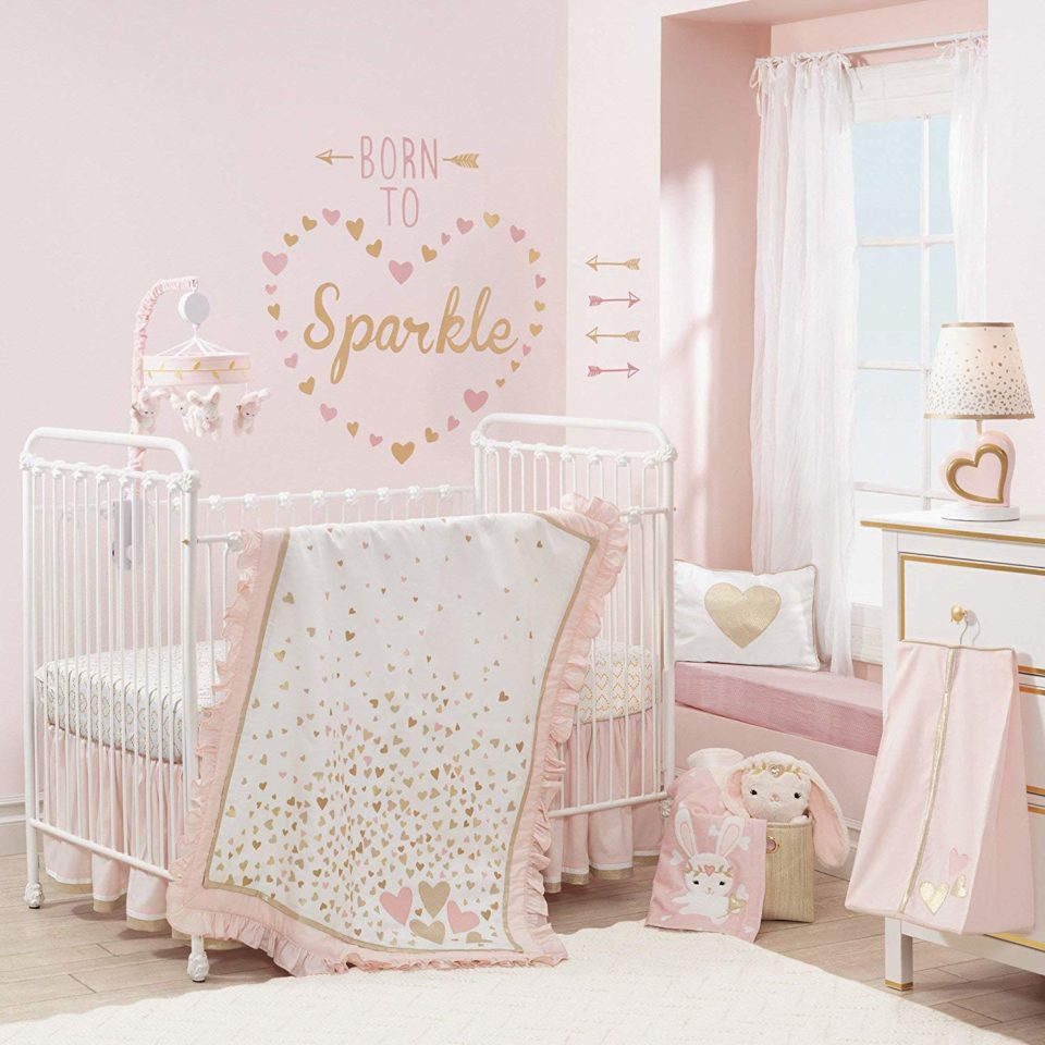 Lambs & Ivy Confetti Heart 4 Piece Crib Bedding Set