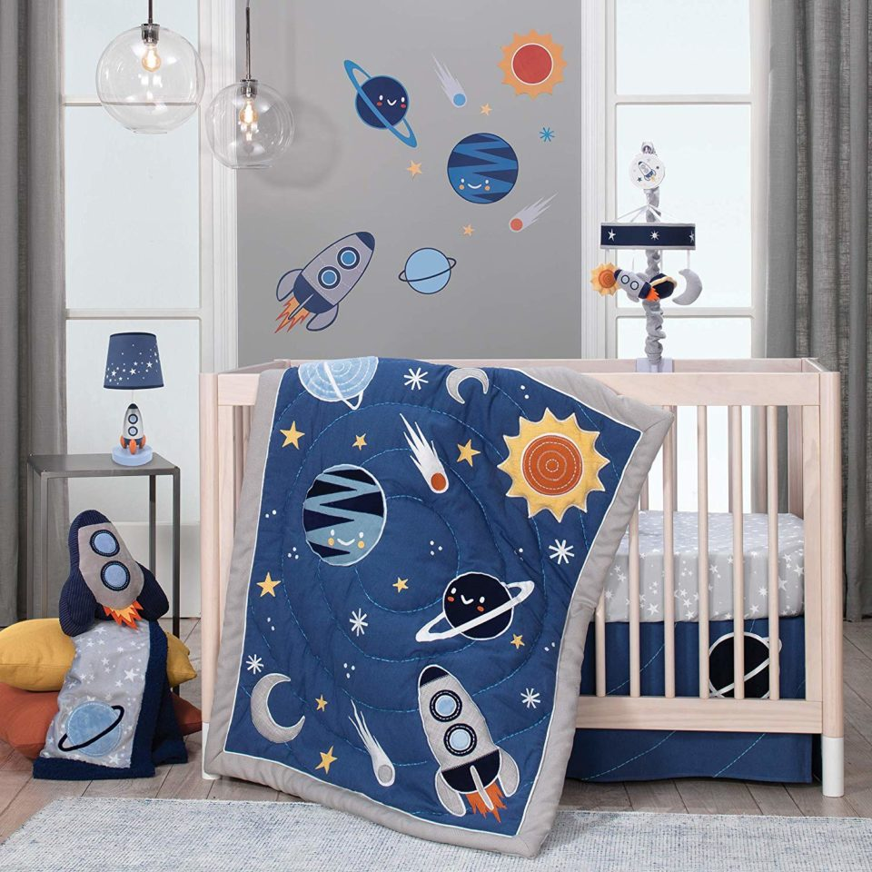 Lambs & Ivy Milky Way Space Galaxy 4-Piece Baby Nursery Crib Bedding Set
